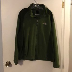 North Face shades of green zip front jacket